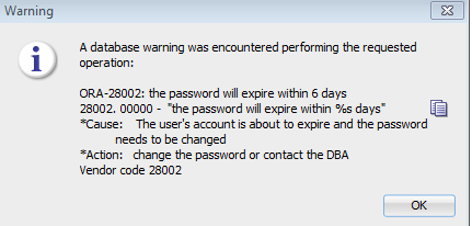 ORA-28002: the password will expire within 6 days (certain string)
