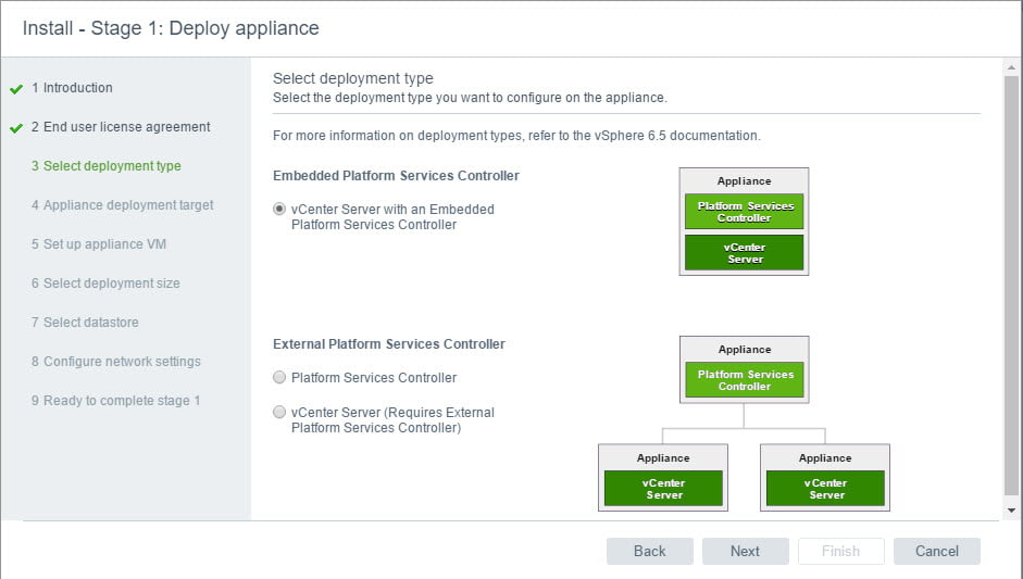 Step by Step Guide to Install and configure VCSA 6.5 with Embedded Platform Service Controller